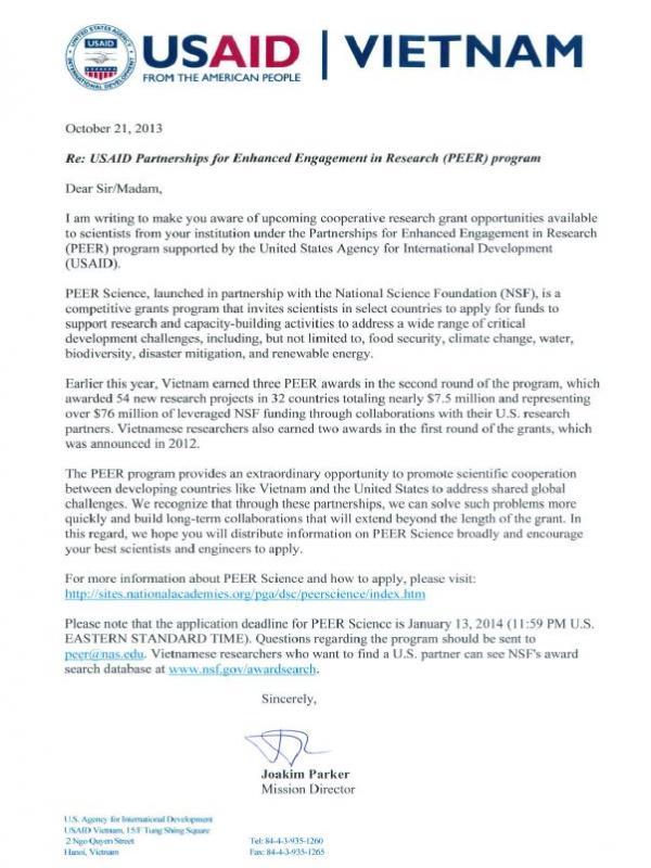 USAID Vietnam announces cooperative research grant